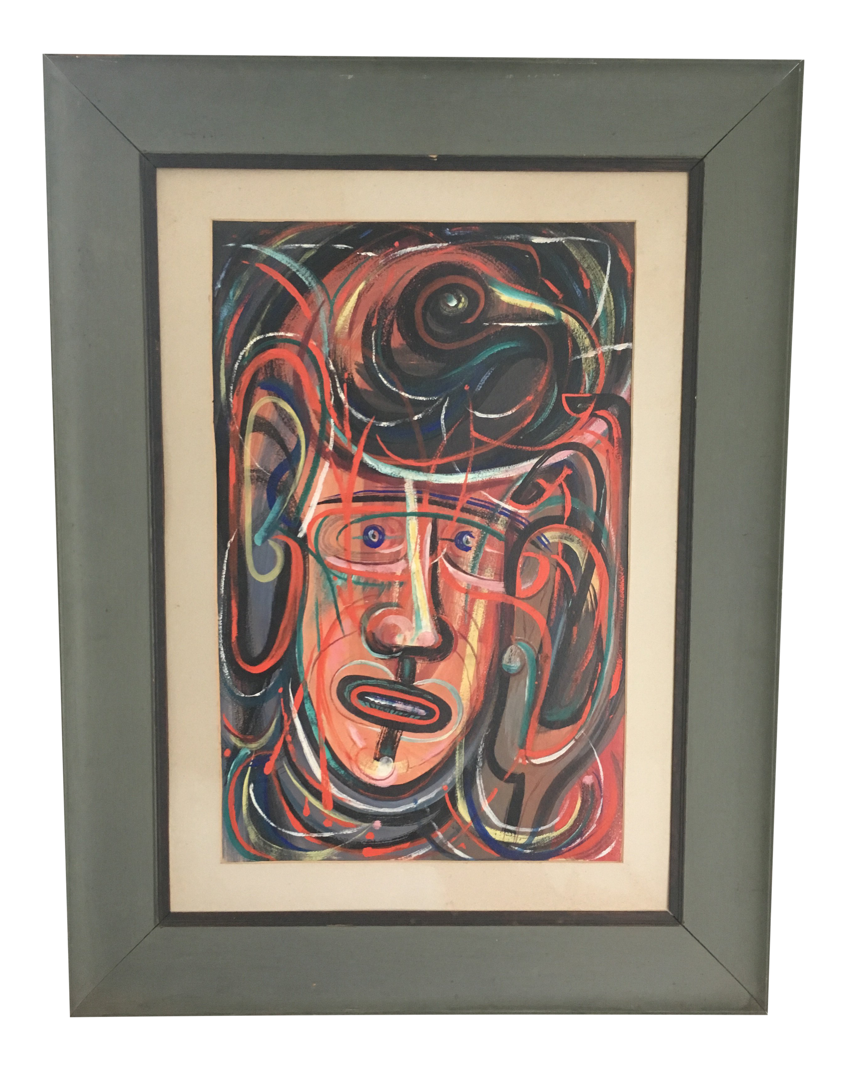 Expressionism drawing figure. Vintage mid century abstract