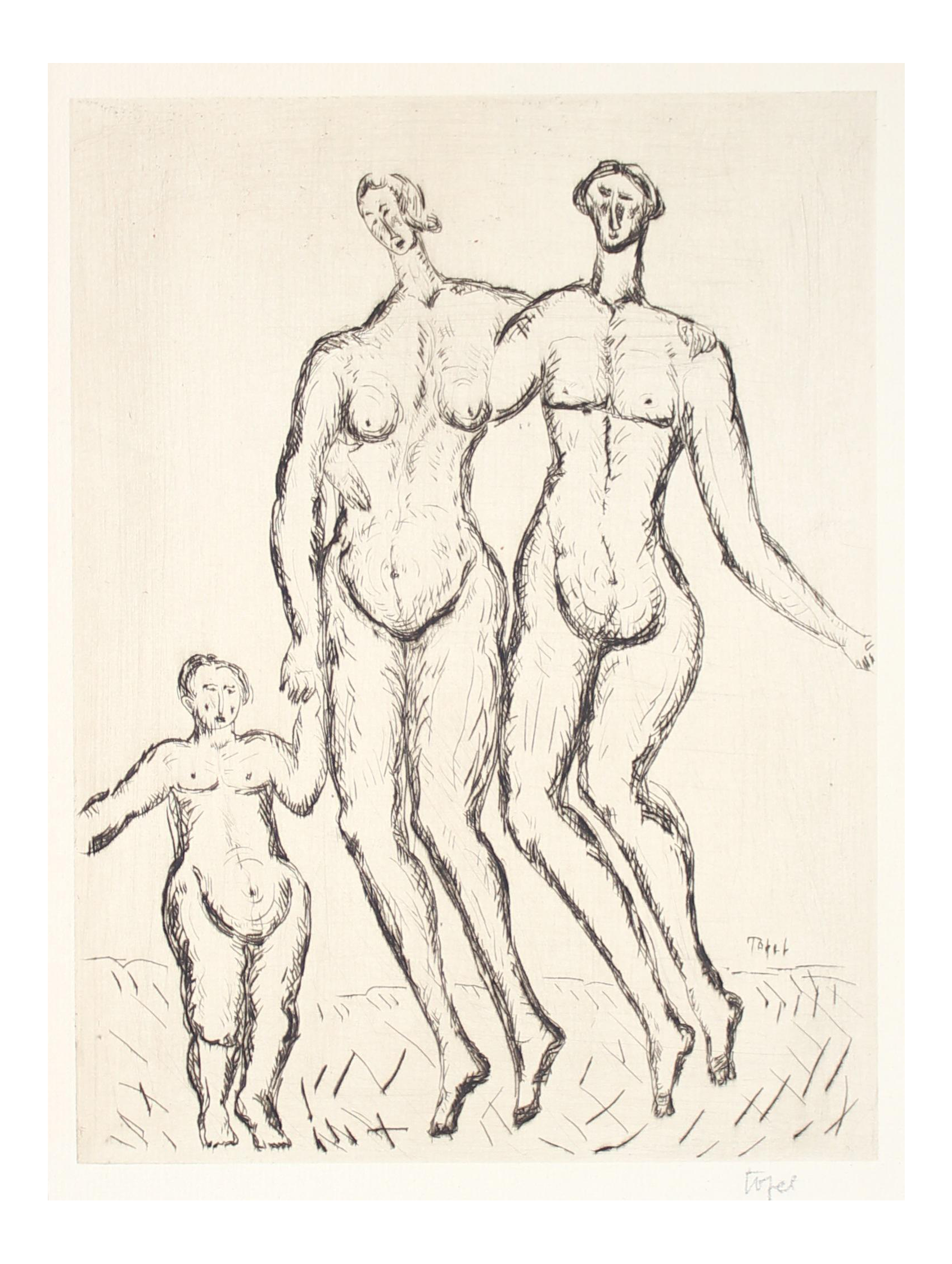 Expressionism drawing figure. Expressionist figures with child
