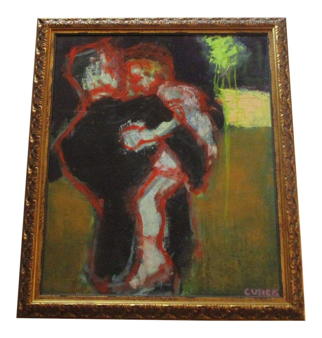 Expressionism drawing figure. Cusick signed painting abstract
