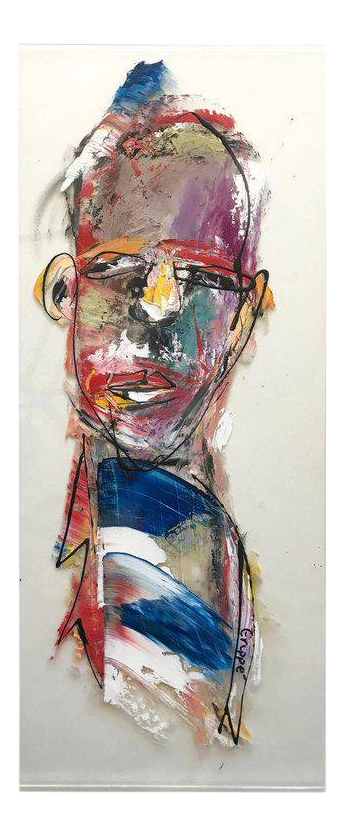 Expressionism drawing portrait. Superior contemporary figurative oil