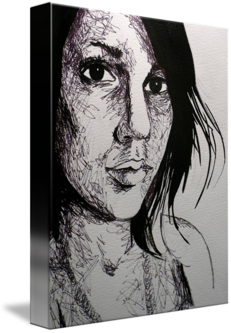 Expressionism drawing portrait. Self by noelle richardson