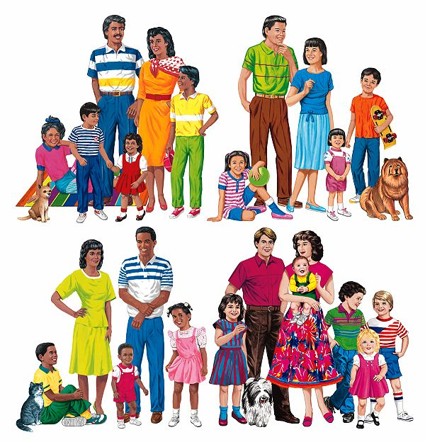 Extended clipart large family. Making names plural improving