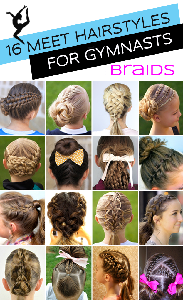 Extension clip french braid. Gymnastics hairstyles for competition