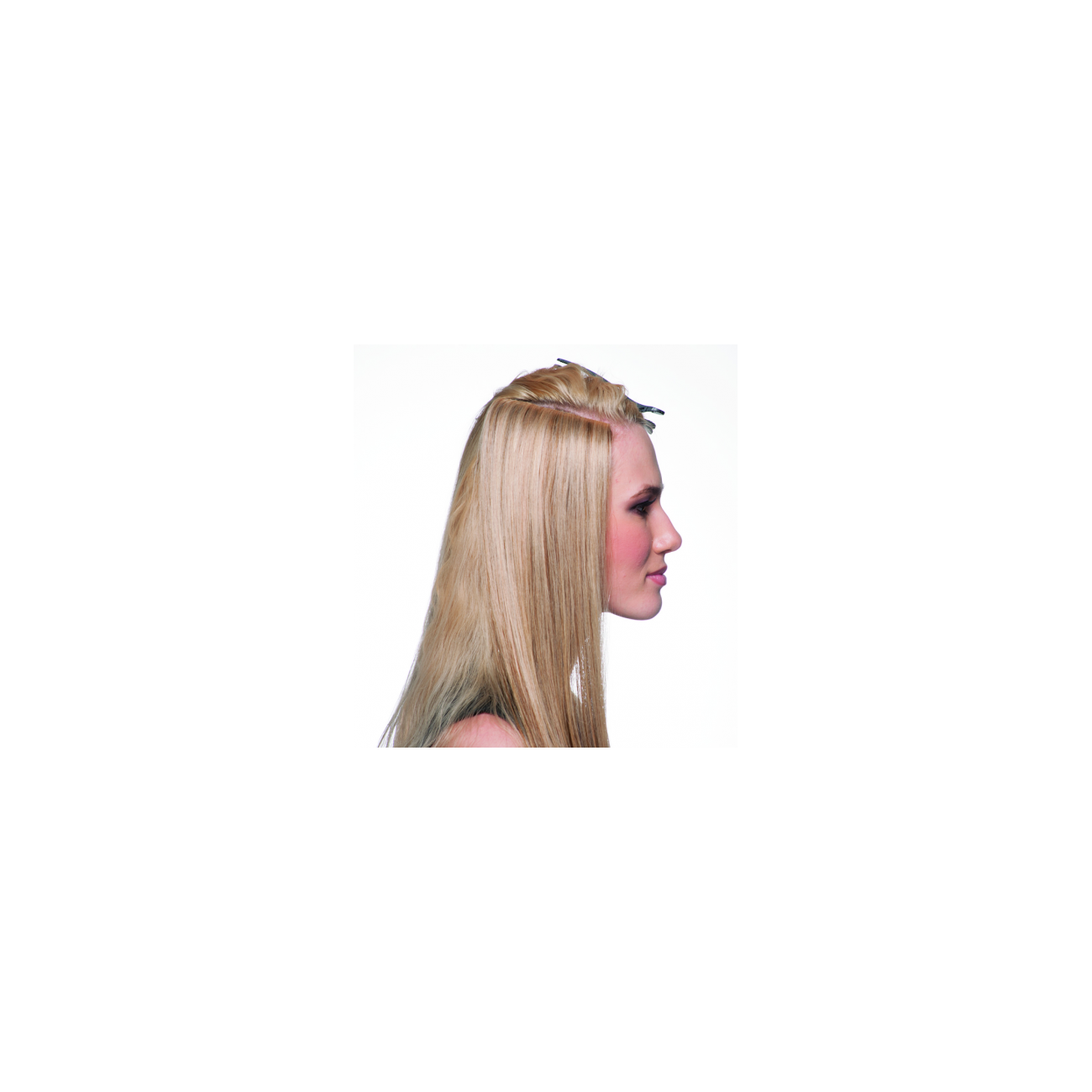 Extensiones clip real hair. Invisible skin weft clips