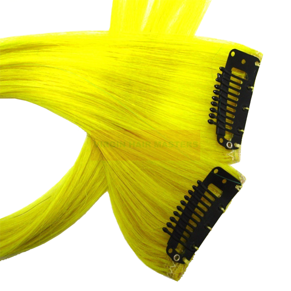 Extensiones clip celebrity. Yellow hair extensions in