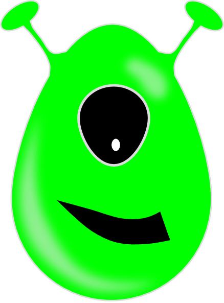 Eye clip one. Green alien art at
