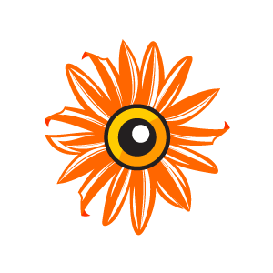 Eye clipart orange. Flower sun with a