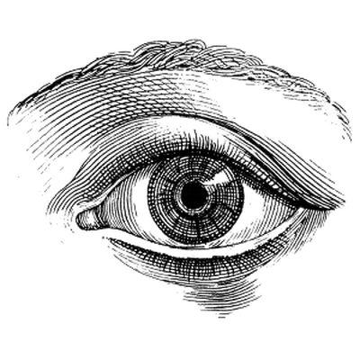 Drip drawing eye. Single vintage transparent png