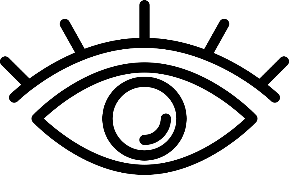 Eye with lashes png. Outline svg icon free