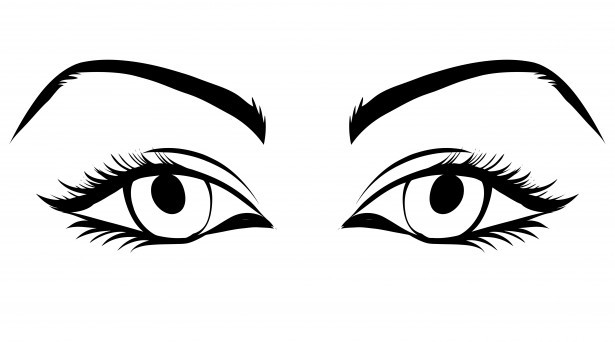 Eye clipart line art. Eyes of woman free