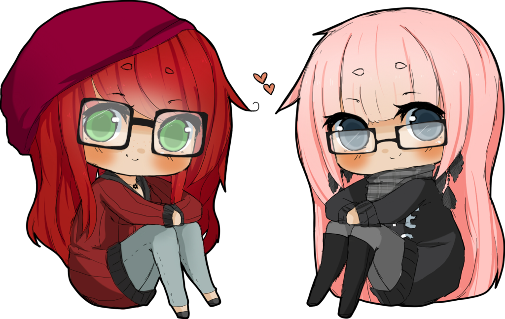 Chibis drawing hipster. Anime girl with glasses