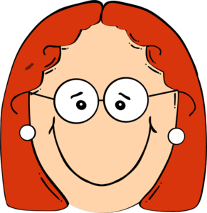 Eyeglasses clipart woman glass. Happy red head girl