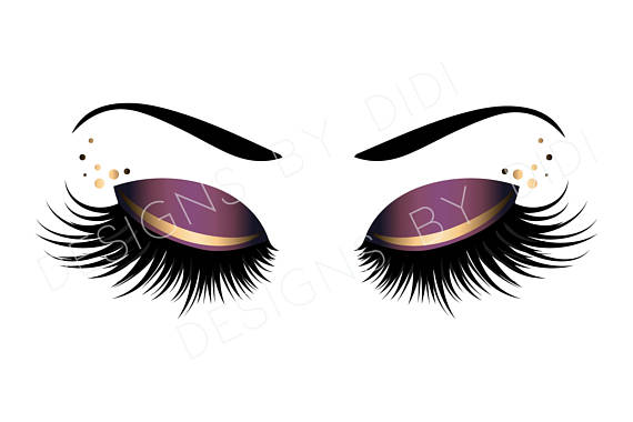 Eyelash clipart purple eye. Instant download lash gold