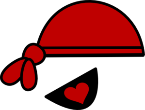 Red and heart clip. Eyepatch transparent pirate hat graphic freeuse stock