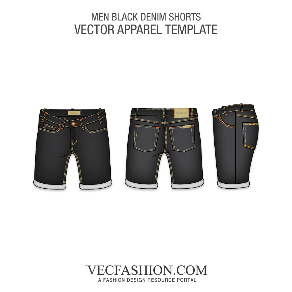 Men black denim shorts. Jeans vector track clipart black and white