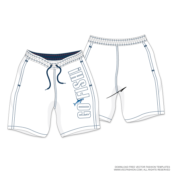 Drawing shorts. Men white swim vector