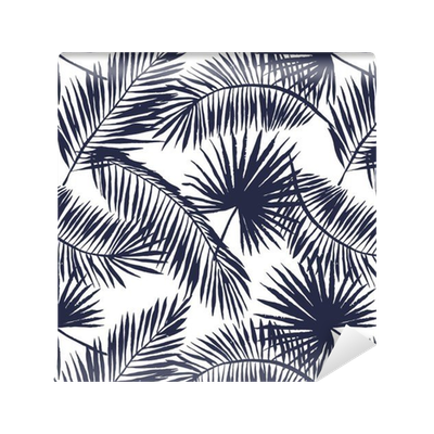 Fabric vector off white. Palm leaves silhouette on