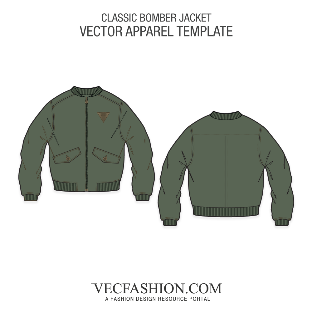Classic vector trappings. Bomber jacket template vecfashion