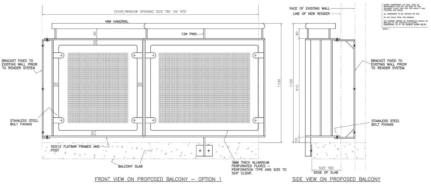 Fabrication drawing steelwork. Balconies the main structure