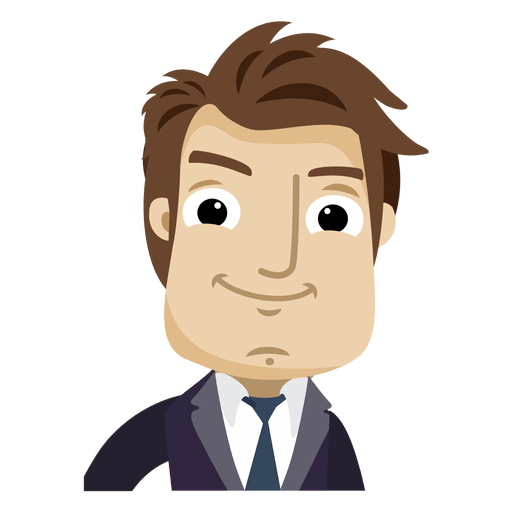 Businessman cartoon looking at. Male vector front face graphic transparent