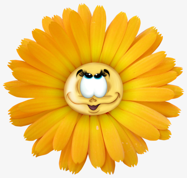 Face clipart flower. Anthropomorphic cartoon decoration yellow