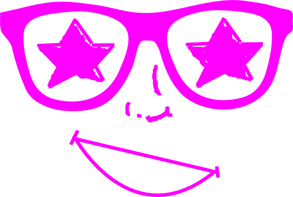 Face clipart star. Purple glasses clip art