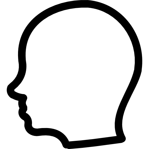 Face outline png. User head side hand