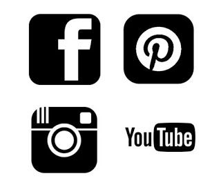 Instagram clipart silhouette. Pinterest facebook and youtube