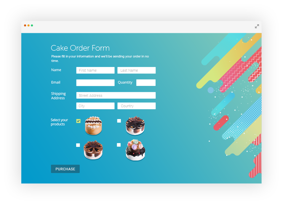Facebook fan page png. Create order forms for
