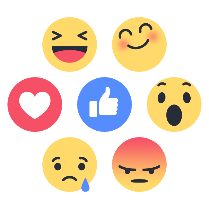 Facebook reaction buttons png. Replaces like button with