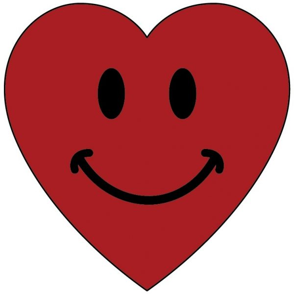 Faces clipart color. Smiley red heart pencil