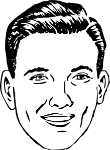 Drawing medium mans. Mens faces clipart
