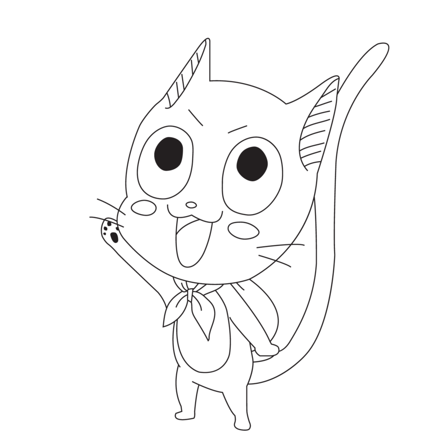 Fairytail drawing happy. Easy cat face at