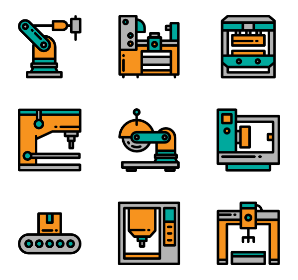 icon packs vector. Factory clipart factory machinery graphic black and white stock