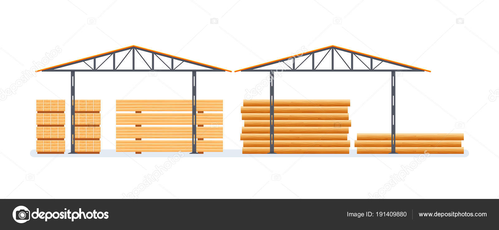 Factory clipart industrial shed. Plant wood processing production