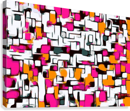 Fade drawing abstract. Pink orange and black