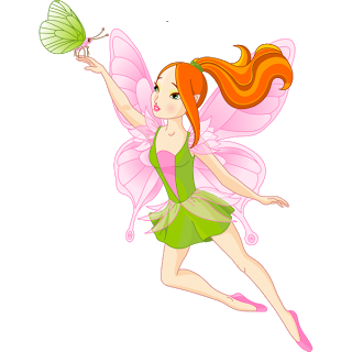 Faerie drawing baby. Golden fairies cartoon clip