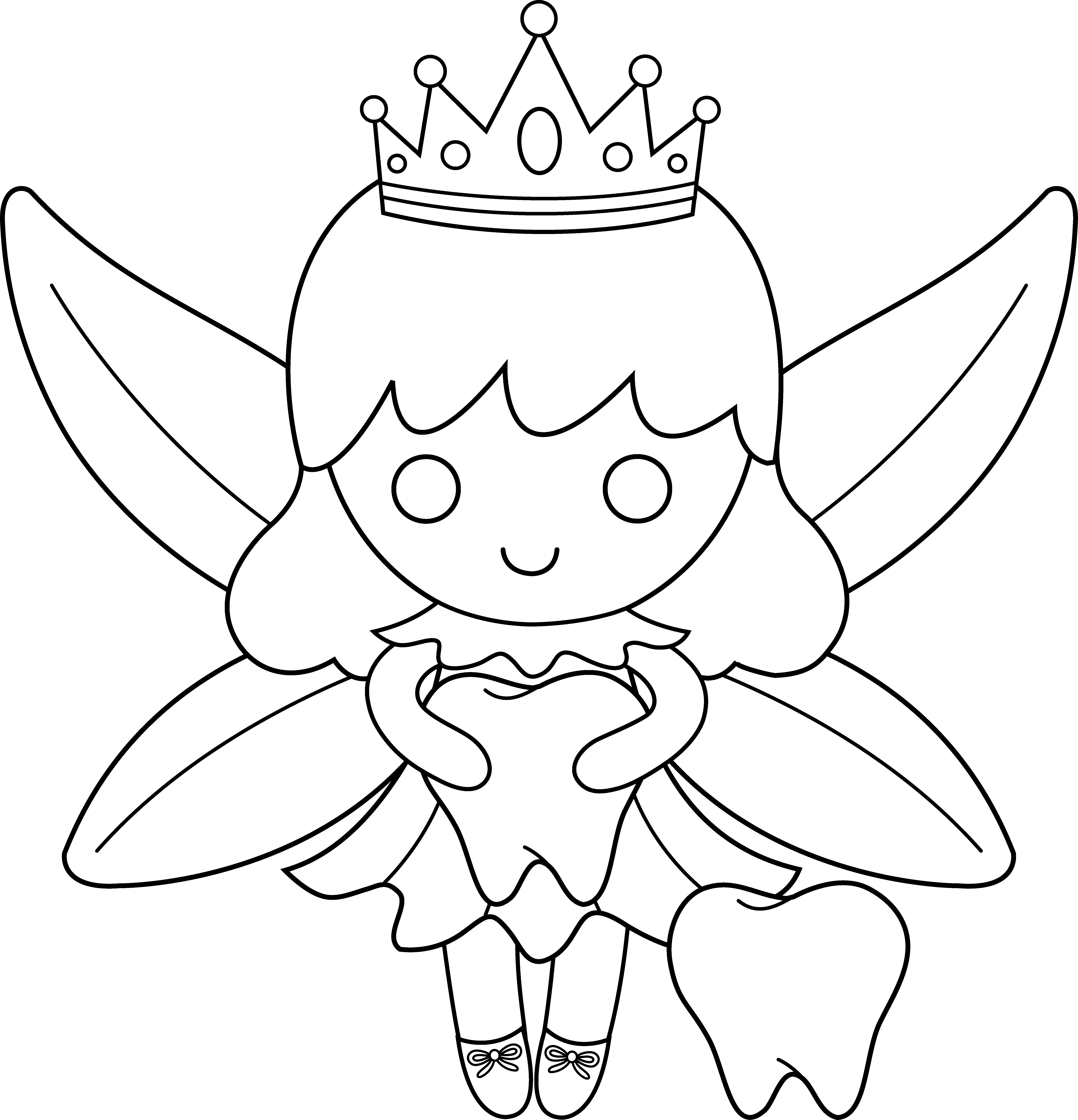 Faerie drawing black and white. Cute colorable tooth fairy