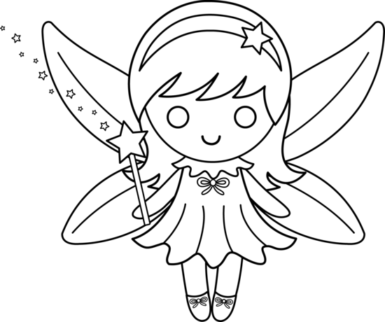 Faerie drawing cute. Colorable fairy design free