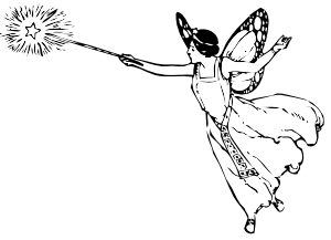 Faerie drawing easy. Fairy with wand clip