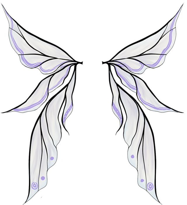 Faerie drawing elf. Fairy wings colored by