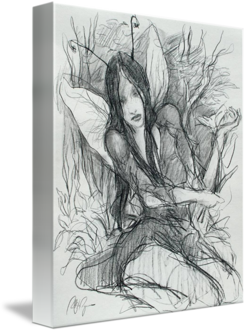 Faerie drawing pencil. Picking flowers sketch by