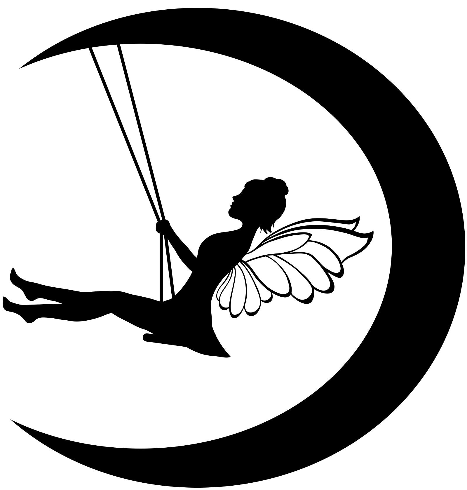 Fairy clipart moon. Top black image vector