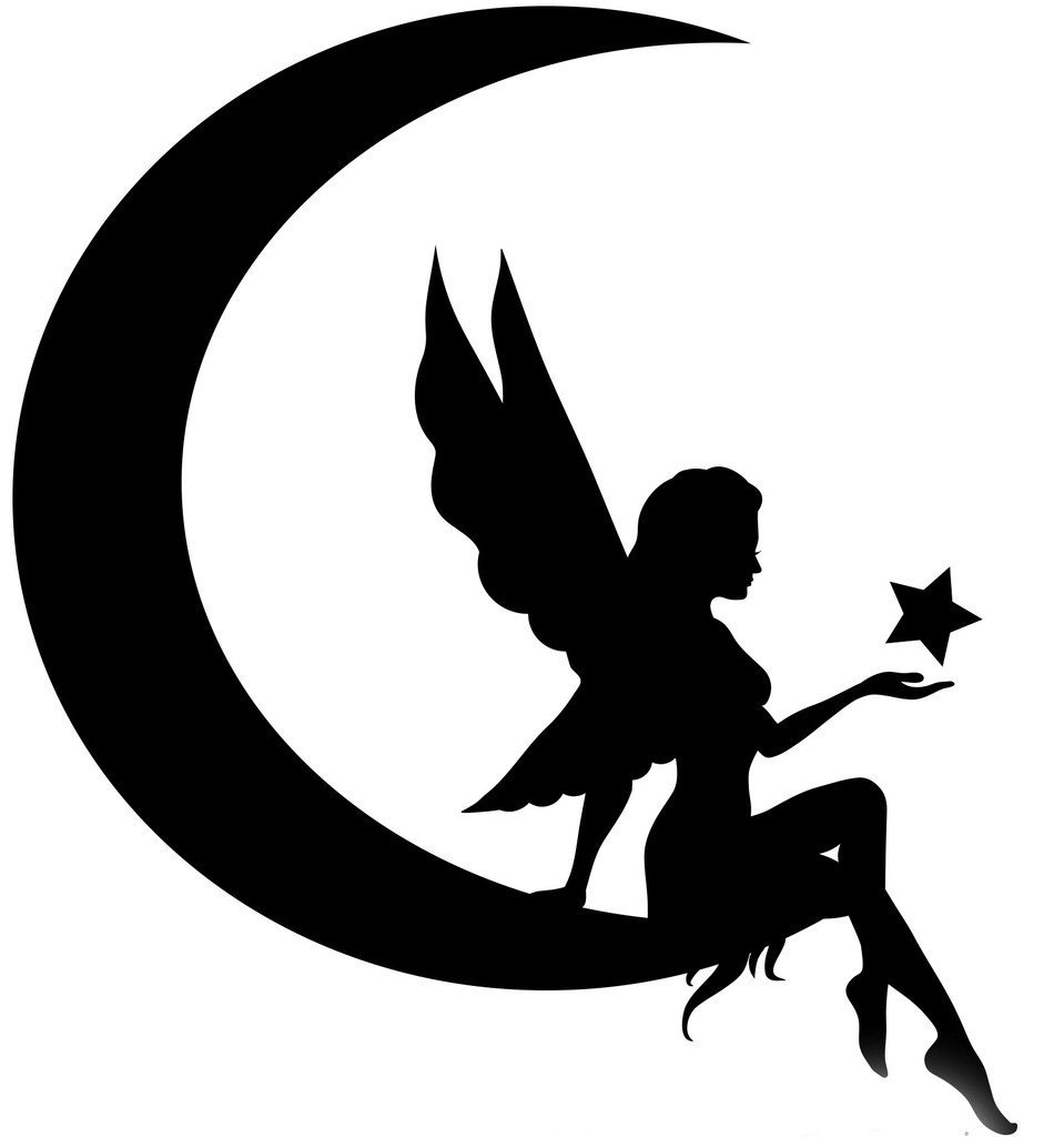 Fairy clipart moon. On silhouette at getdrawings