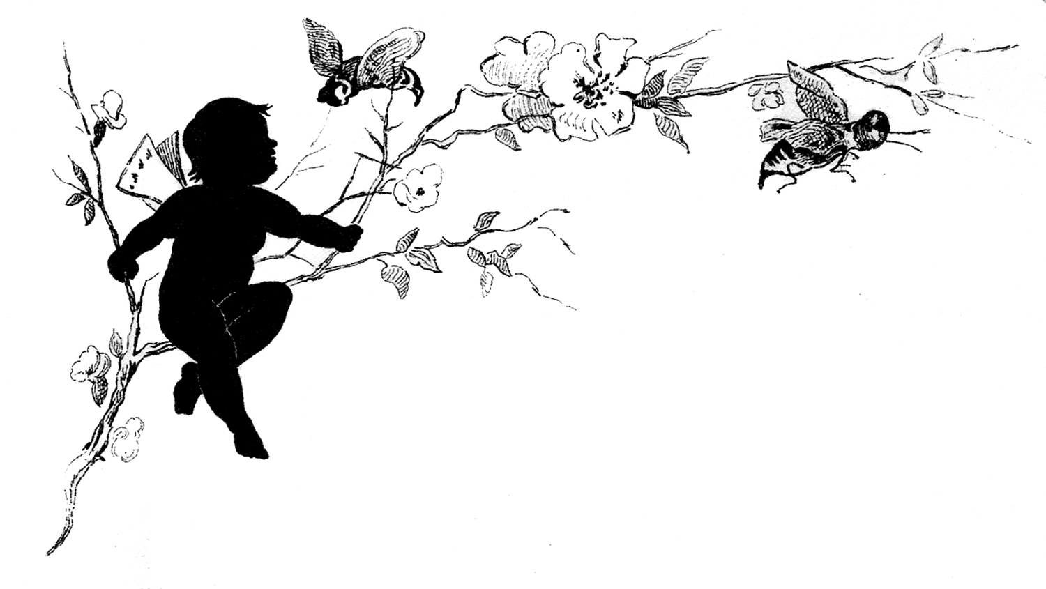 Fairy clipart nature. Vintage child silhouette image