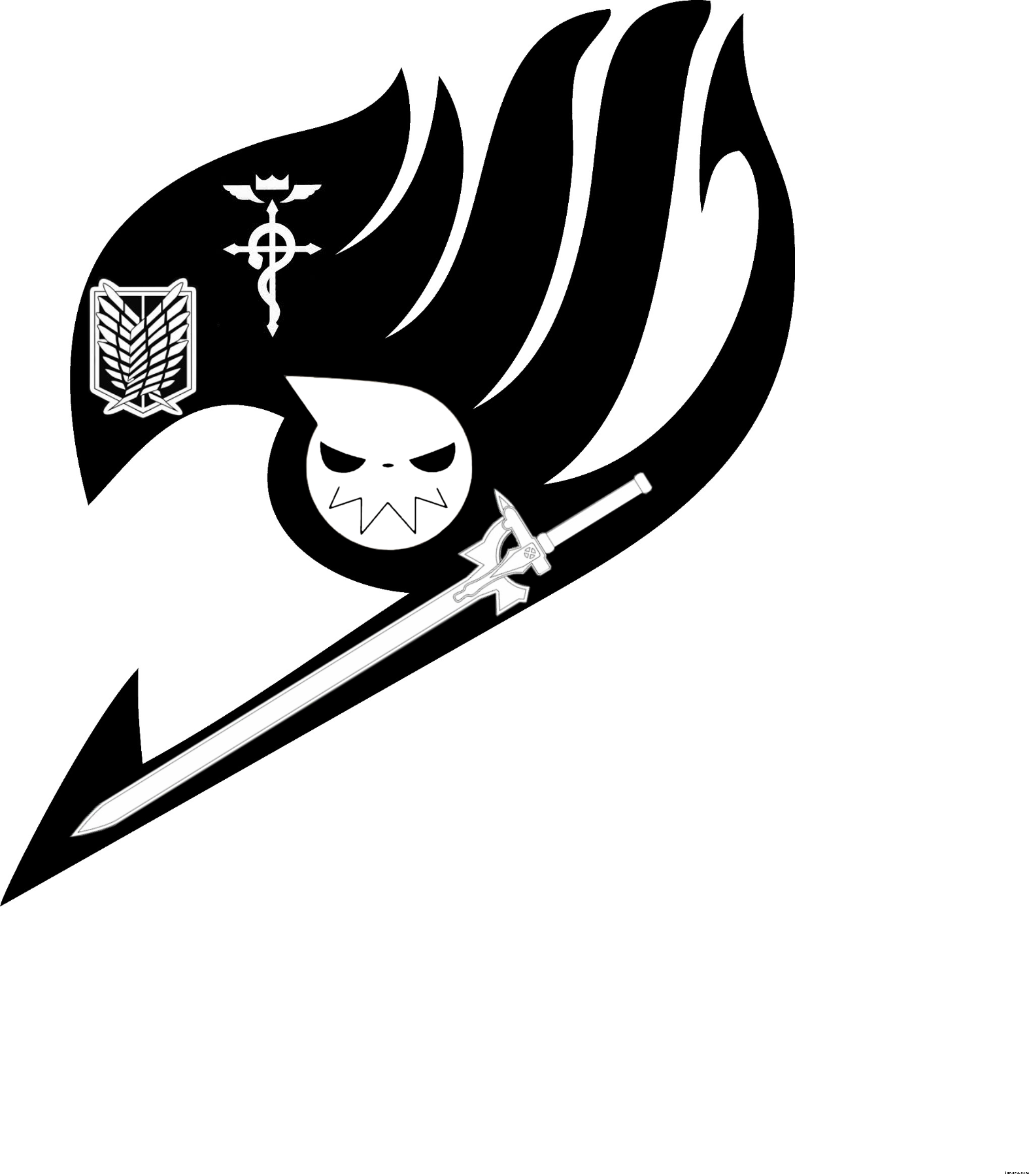 Soul transparent anime symbol. Five s in one