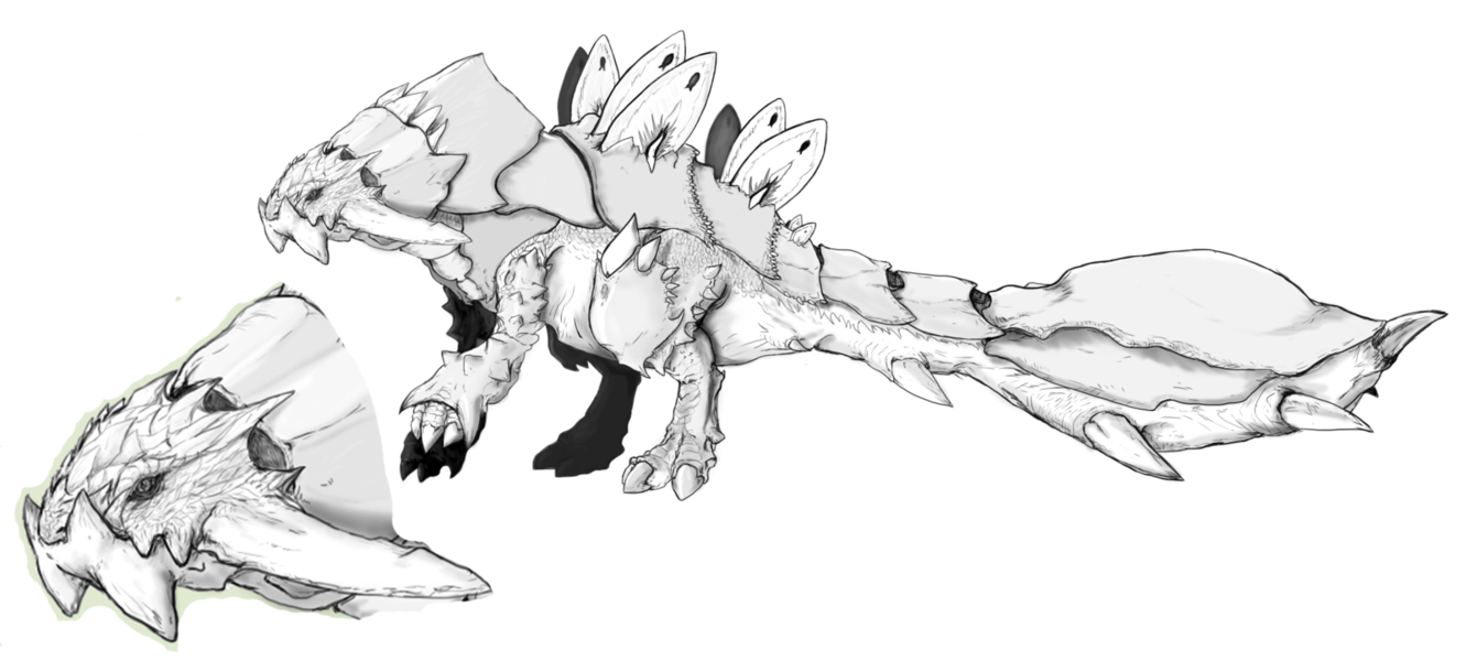 Fake drawing simple. Monster hunter fakemonster anquiros