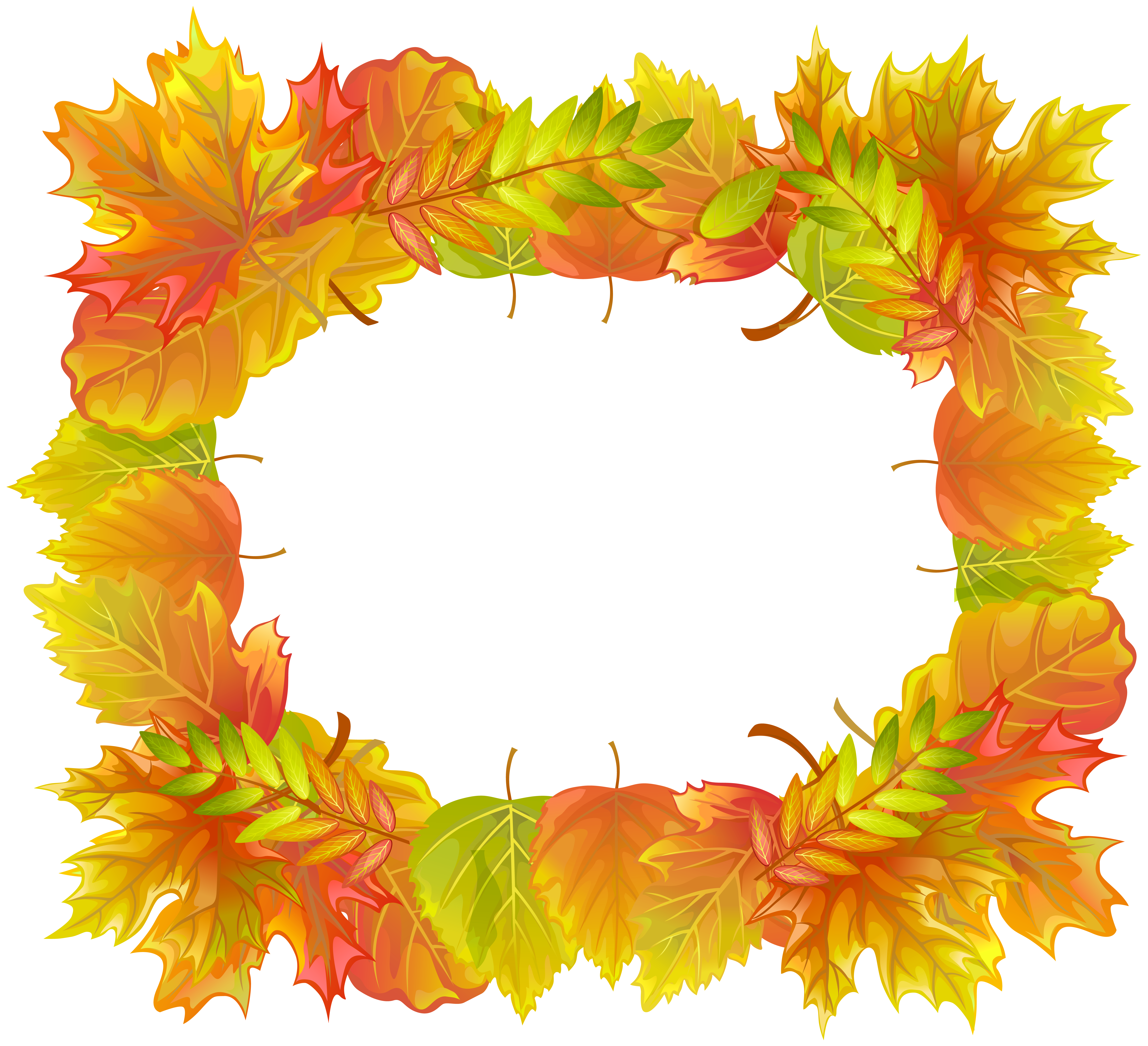 Fall frame png. Autumn leafs border clipart
