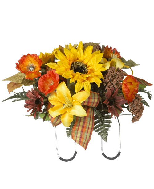 Fall floral png. Silk cemetery saddle connells