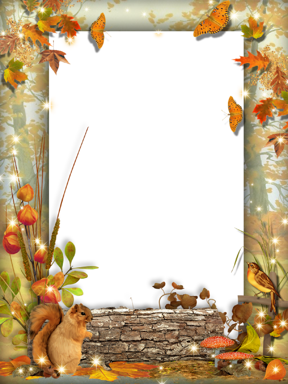 Fall frame png. Autumn photo squirrel in